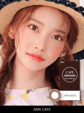 A Asian girl wears Ann365 ann cafe Brown colored contact lenses.