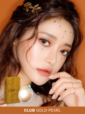 A Asian Girl wears Ann365 Club Gold Pearl colored contact lenses