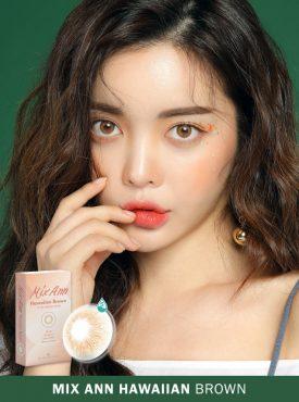 A Beautiful Girl wears Ann365 MIX ANN Hawaiian Brown Colored contact lenses.