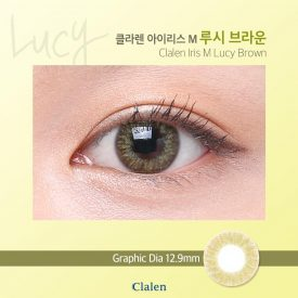 A woman wears Clalen M lucy brown color contact lens