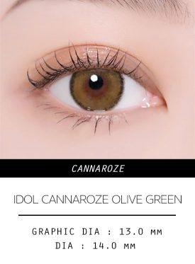 Girl's eyes wear IDol lens CANNA ROZE OLIVE GREEN color contact lens