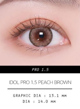 Girl's eyes wear IDOL LENS PRO1.5 PEACH BROWN color contact lens