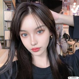 Girl's eyes wear IDol lens CANNA ROZE CHARCOAL GRAY color contact lens