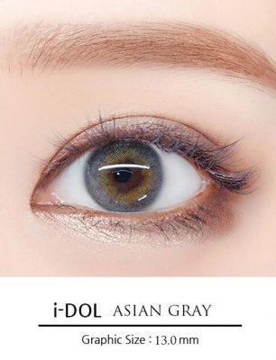 Girl's eyes wear Idol lens asian gray color contact lens