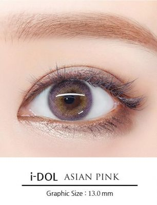 Girl's eyes wear Idol lens asian pink color contact lens