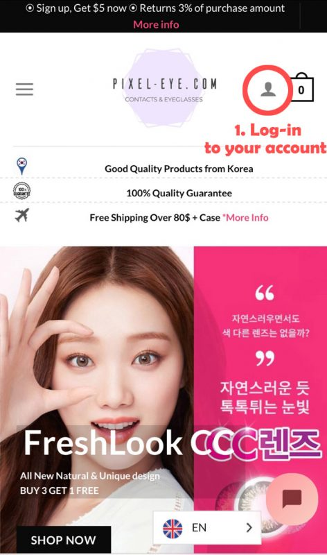 Log in to my account for order tracking.