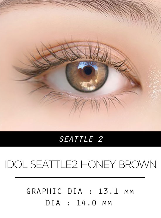 Girl's eyes wear idol lens seattle 2 HONEY BROWN color contact lens