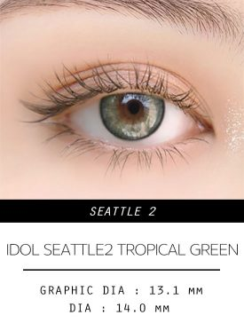 Girl's eyes wear idol lens seattle 2 tropical green color contact lens