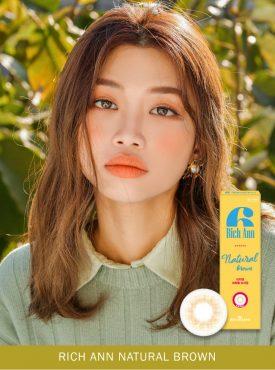 A Asian Girl wears Ann365 Rich Ann Natural Brown Colored contact lens