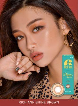 A Asian girl wear Ann365 Rich Ann Shine Brown colored contacts