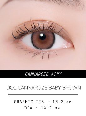 Girl's eyes wear IDOL LENS CANNAROZE AIRY BABY BROWN color contact lens