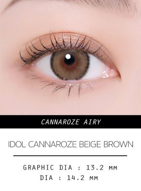 Girl's eyes wear IDOL LENS CANNA ROZE BEIGE BROWN AIRY color contact lens