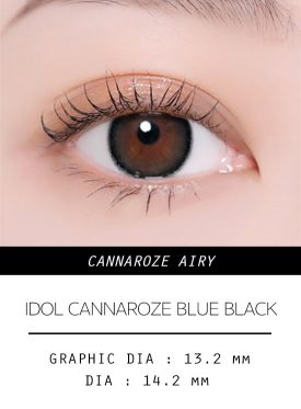 Girl's eyes wear IDOL LENS CANNAROZE AIRY BLUE BLACK color contact lens
