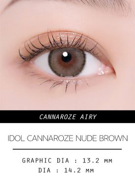 Girl's eyes wear IDOL LENS CANNAROZE AIRY NUDE BROWN color contact lens