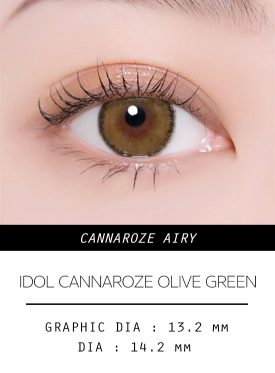 Girl's eyes wear IDOL LENS CANNAROZE AIRY OLIVE GREEN color contact lens