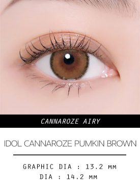 Girl's eyes wear IDOL LENS CANNAROZE AIRY PUMKIN BROWN color contact lens