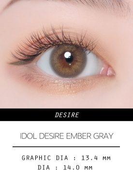 Girl's eyes wear IDOL LENS DESIRE EMBER GRAY color contact lens