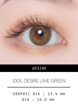 Girl's eyes wear IDOL LENS DESIRE LIME GREEN color contact lens