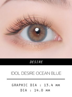 Girl's eyes wear IDOL LENS DESIRE OCEAN BLUE color contact lens