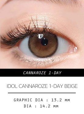 Girl's eyes wear IDOL LENS CANNAROZE 1-DAY BEIGE BROWN color contact lens