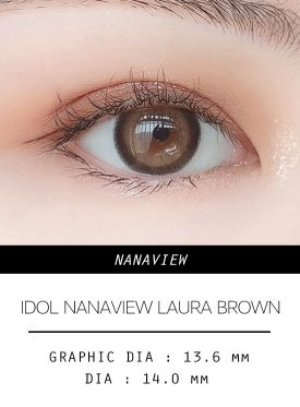 Girl's eyes wear IDOL LENS NANAVIEW LAURA BROWN color contact lens