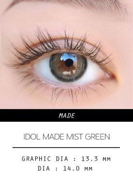 Girl's eyes wear IDOL LENS MADE MIST GREEN color contact lens