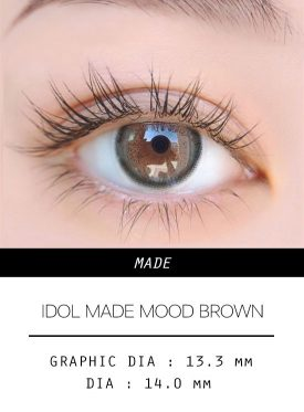 Girl's eyes wear IDOL LENS MADE MOOD BROWN color contact lens