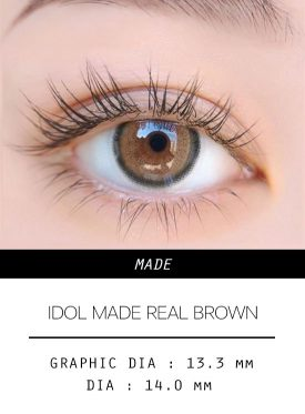 Girl's eyes wear IDOL LENS MADE REAL BROWN color contact lens