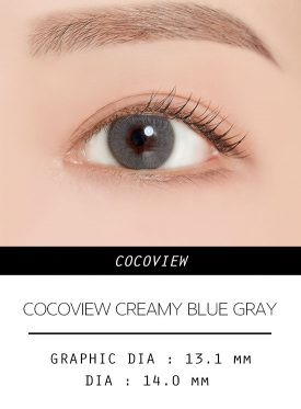 Girl's eyes wear COCOVIEW CREAMY BLUE GRAY color contact lens