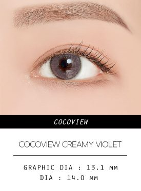 Girl's eyes wear COCOVIEW CREAMY VIOLET color contact lens